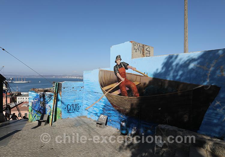 Peinture d'un marin en mer, Cerro Cordillera, Valparaiso