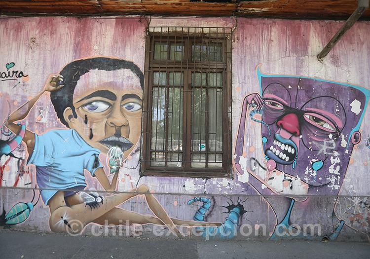 Graffitis de rue à Yungay, Santiago