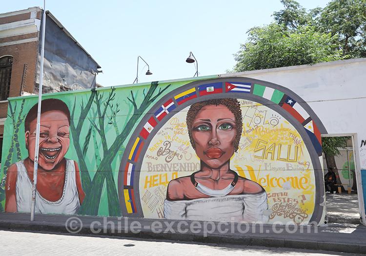 Façades colorées à Yungay, Santiago