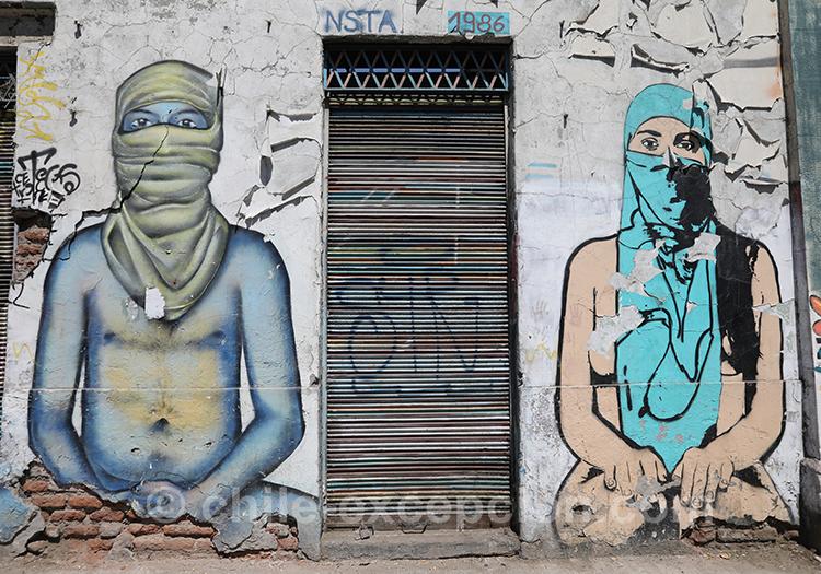 Graffitis du quartier Yungay, Santiago, Chili avec l'agence de voyage Chile Excepción