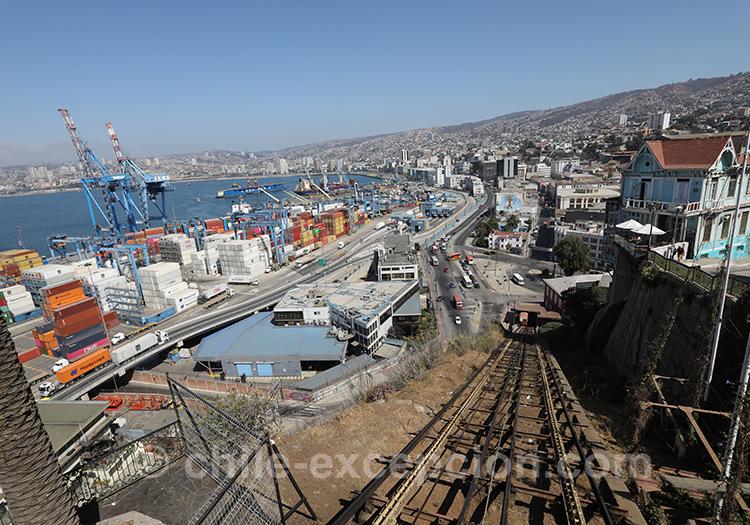 Panorama sur la baie de Valparaiso depuis l'ascenseur Artillería, Chili