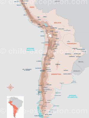 Carte cône sud d'Amérique latine