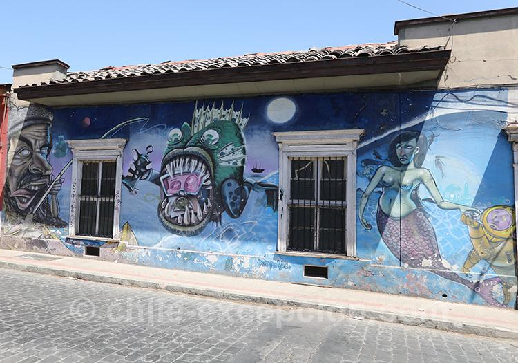 Poisson carnivore sur les murs à Yungay, Santiago