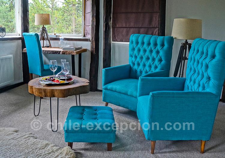 Petit salon de chambre de l'hôtel The Patagonian Lodge, Coyhaique, Chili