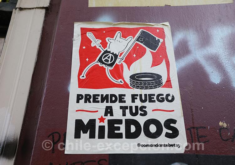 Prendre feu à tes peurs, tags au Chili