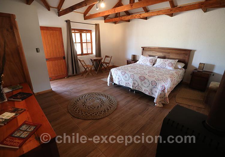 Chambre double, maison d'hôte Caliboro, Chili avec l'agence de voyage Chile Excepción