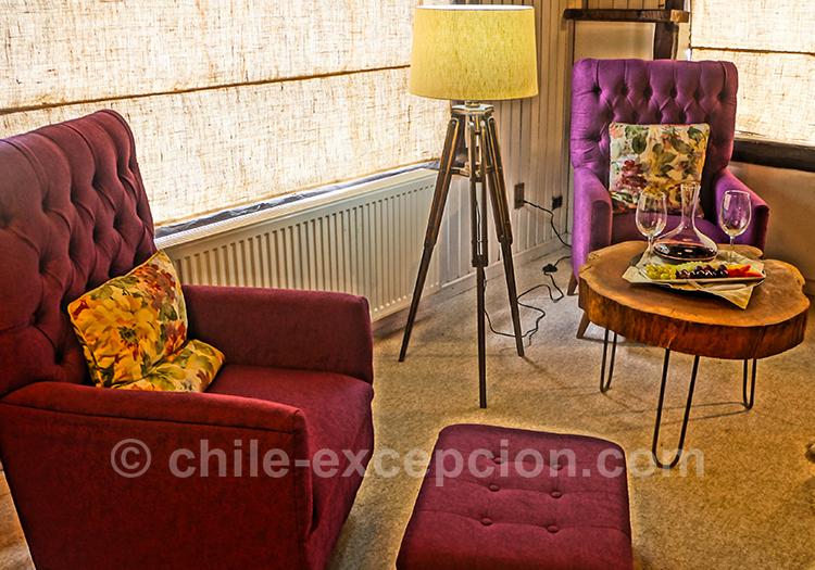 Jolie décoration de l'hôtel The Patagonian Lodge, Coyhaique, Chili