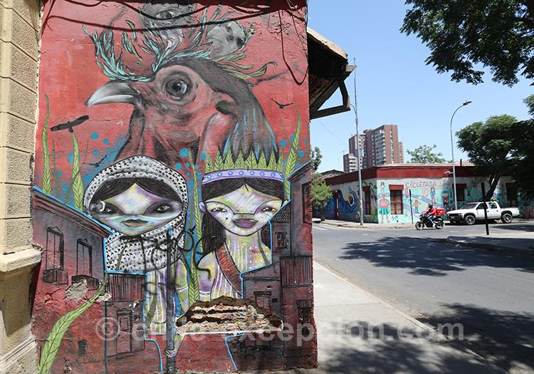 Street art de Yungay à Santiago avec l'agence de voyage Chile Excepción