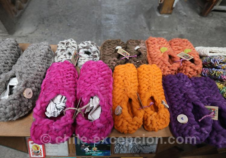 Chaussons de laine, faits main à Coyhaique