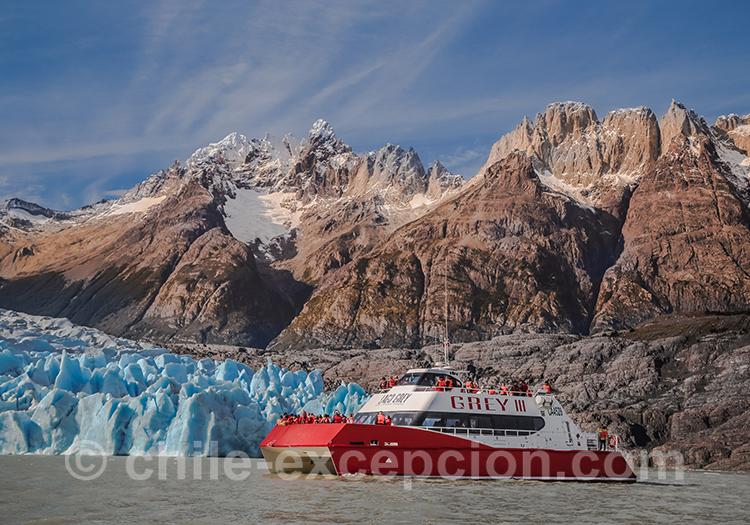 Bateau excursion Lac Grey, Chili