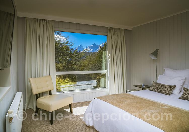 Chambre beige de l'hôtel Torres del Paine, Chili
