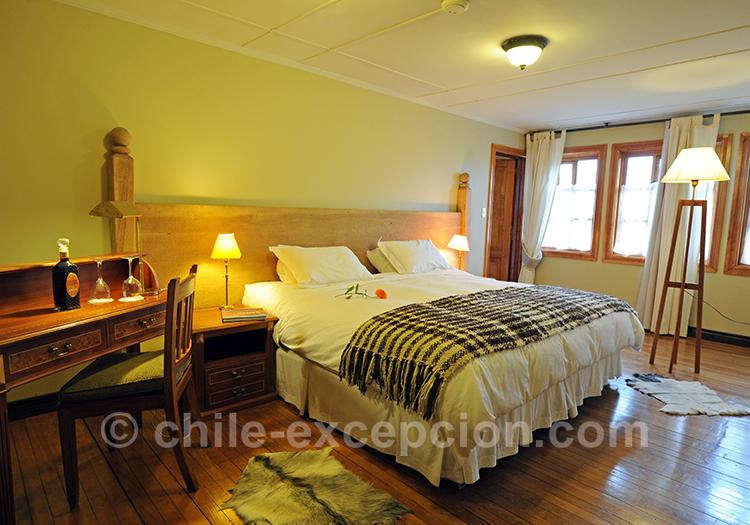 Chambre avec lit double à l'estancia Cerro Guido, Chili