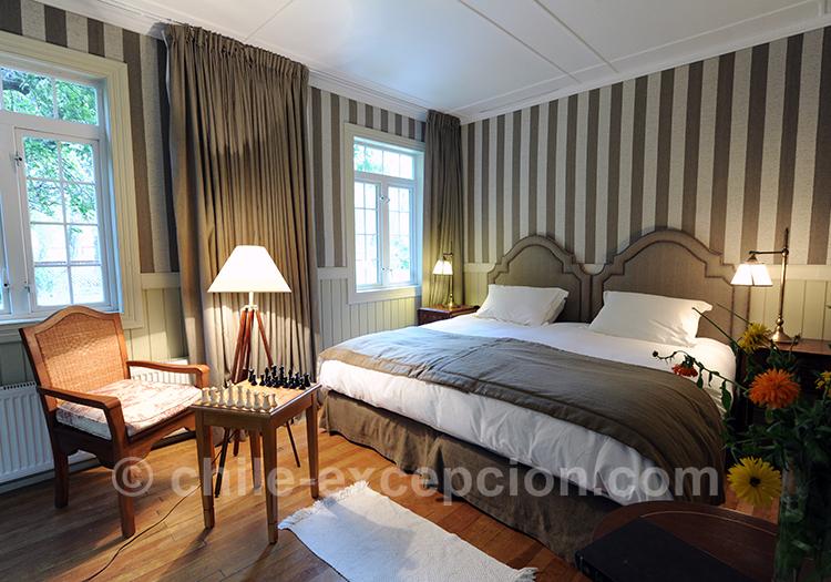 Magnifique chambre matrimoniale à l'estancia Cerro Guido, Chili