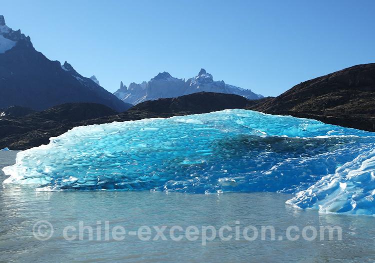 Magnifiques glaces bleues turquoises, Lac Grey, Chili