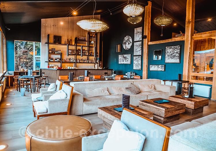 Salon de l'hôtel Lago Grey, Torres del Paine