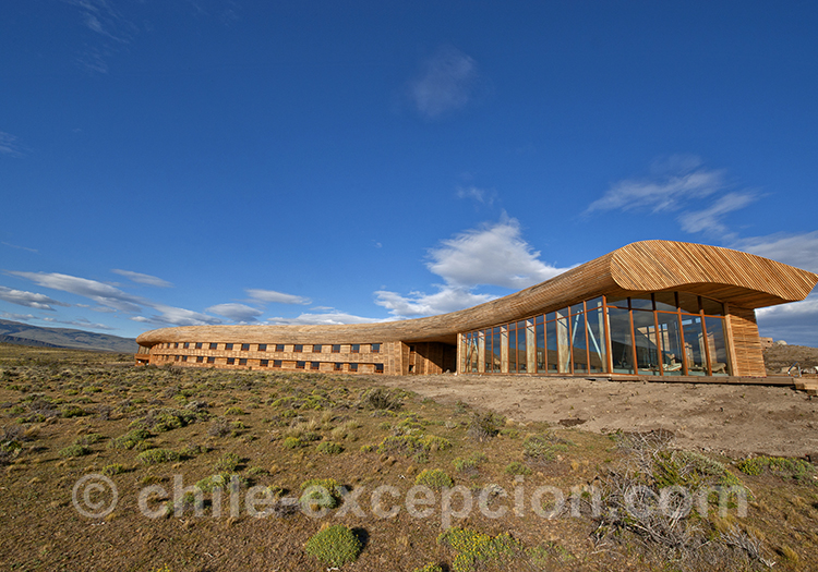 Vue extérieure sur l'hôtel Tierra Patagonia