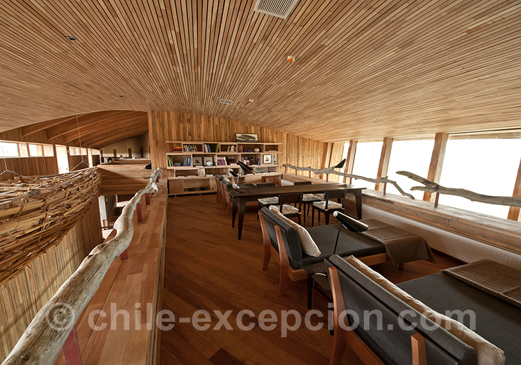 Salle de lecture, Tierra Patagonia, Hotel du Chili