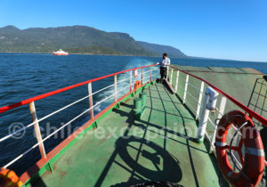 Jonction en ferry Route 7, Patagonie