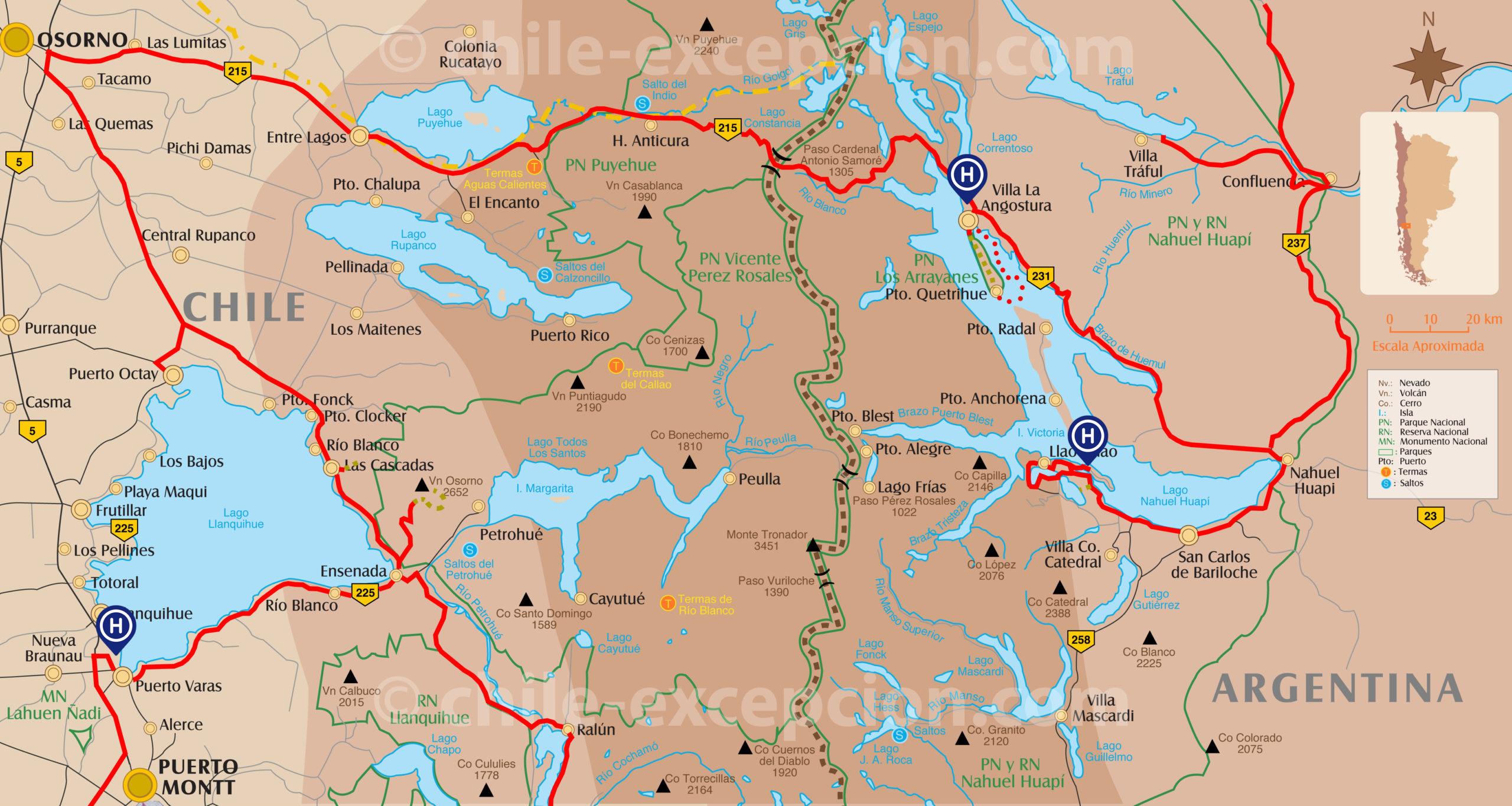Carte zone lacs Llanquihue et Nahuel Huapi - circuit 15