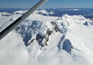 Vue aérienne du champ de glace de Patagonie
